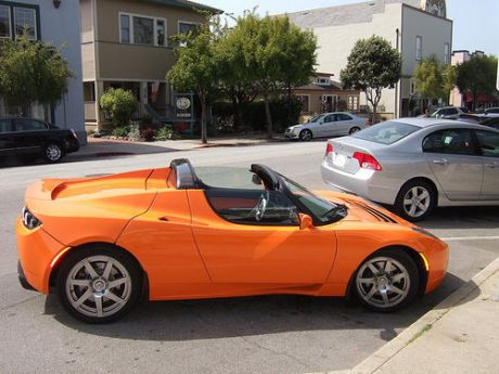 Orange Tesla Roadster